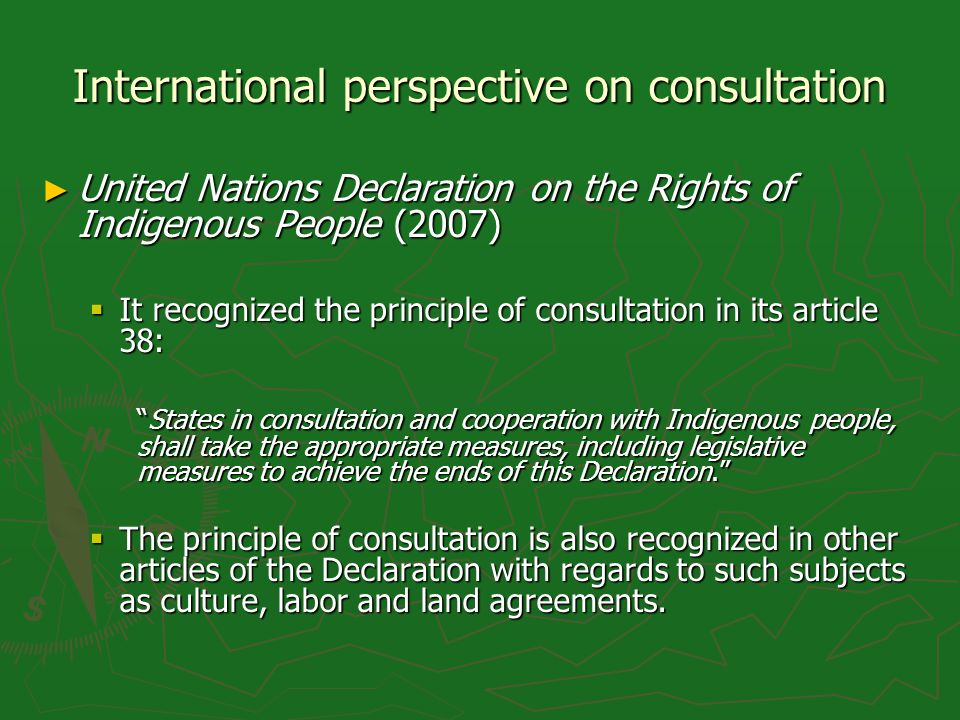 International perspective on consultation United Nations Declaration on the Rights of Indigenous People (2007) United Nations Declaration on the Right