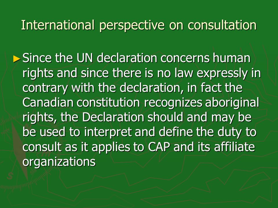 International perspective on consultation Since the UN declaration concerns human rights and since there is no law expressly in contrary with the declaration, in fact the Canadian constitution recognizes aboriginal rights, the Declaration should and may be be used to interpret and define the duty to consult as it applies to CAP and its affiliate organizations Since the UN declaration concerns human rights and since there is no law expressly in contrary with the declaration, in fact the Canadian constitution recognizes aboriginal rights, the Declaration should and may be be used to interpret and define the duty to consult as it applies to CAP and its affiliate organizations