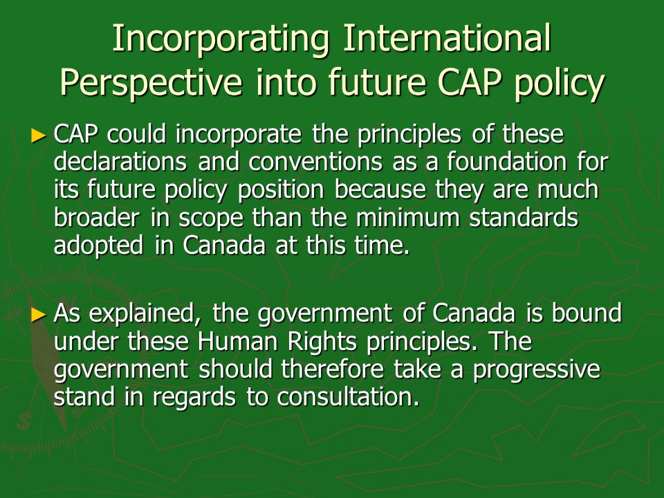 Incorporating International Perspective into future CAP policy CAP could incorporate the principles of these declarations and conventions as a foundat