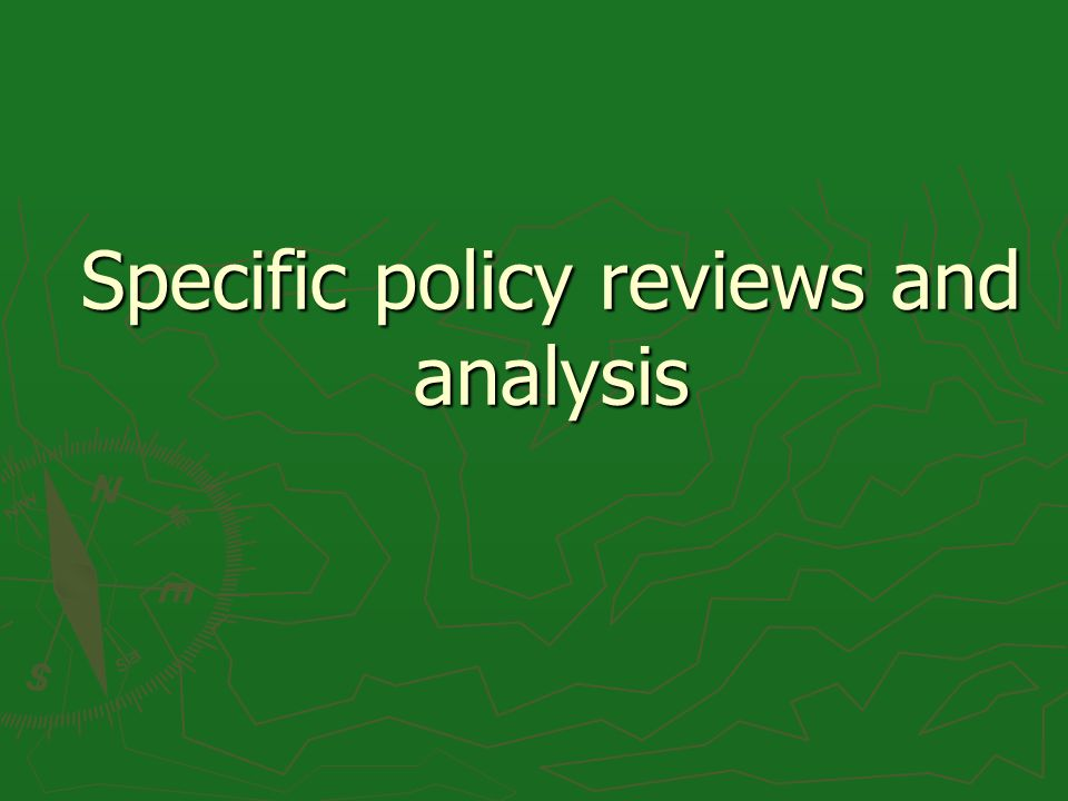 Specific policy reviews and analysis