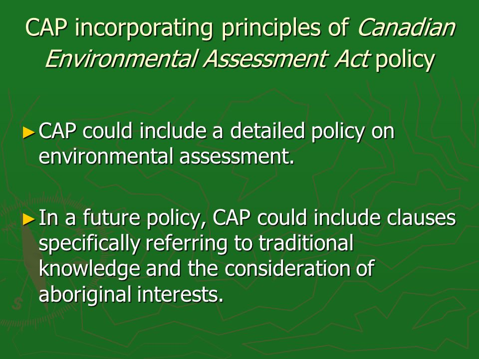 CAP incorporating principles of Canadian Environmental Assessment Act policy CAP could include a detailed policy on environmental assessment. CAP coul