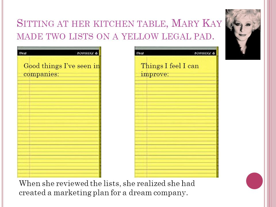 S ITTING AT HER KITCHEN TABLE, M ARY K AY MADE TWO LISTS ON A YELLOW LEGAL PAD.