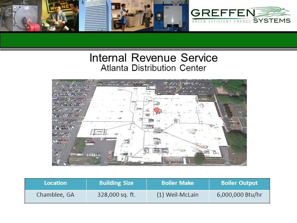 Internal Revenue Service Atlanta Distribution Center LocationBuilding SizeBoiler MakeBoiler Output Chamblee, GA328,000 sq. ft.(1) Weil-McLain6,000,000