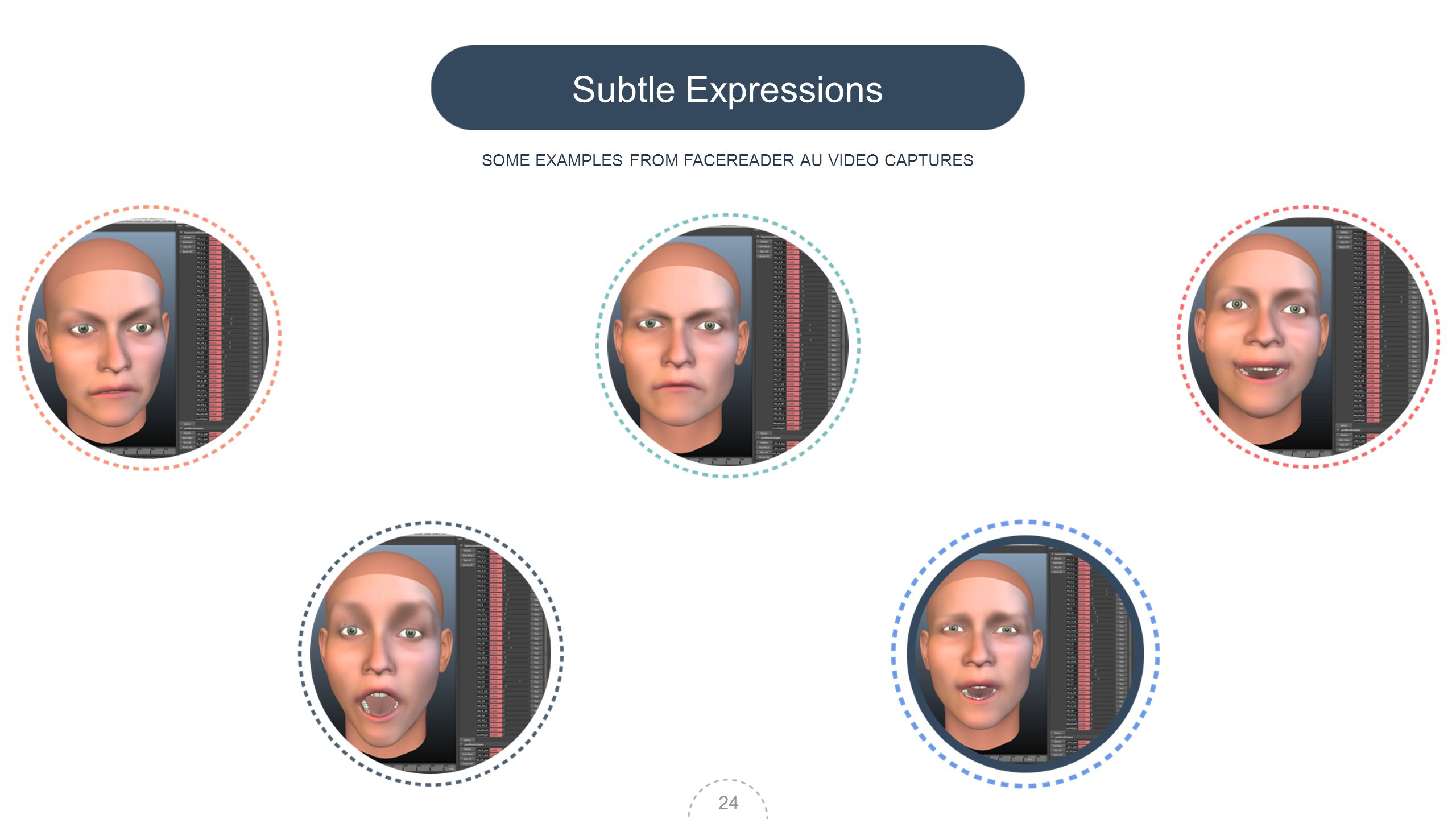 24 Subtle Expressions SOME EXAMPLES FROM FACEREADER AU VIDEO CAPTURES 24
