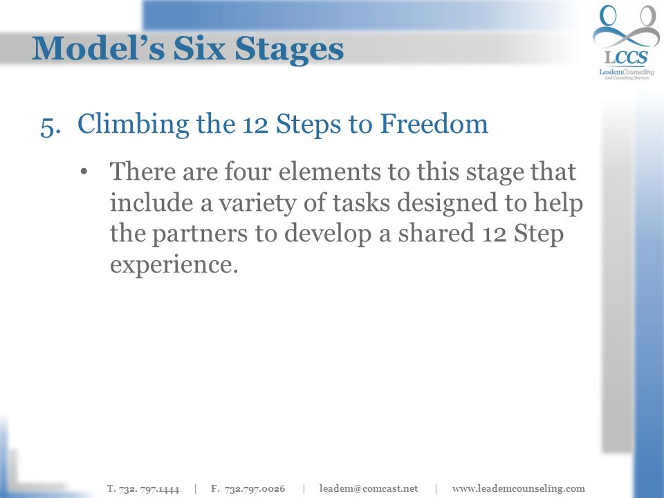 T. 732. 797.1444 | F. 732.797.0026 | leadem@comcast.net | www.leademcounseling.com Models Six Stages 5.Climbing the 12 Steps to Freedom There are four