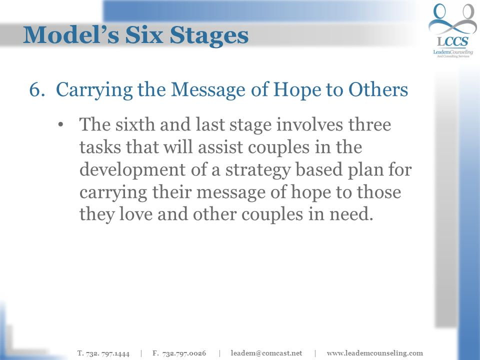 T. 732. 797.1444 | F. 732.797.0026 | leadem@comcast.net | www.leademcounseling.com Models Six Stages 6.Carrying the Message of Hope to Others The sixt