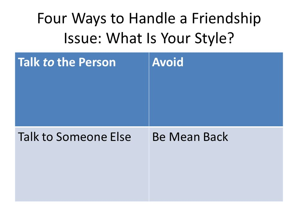 Four Ways to Handle a Friendship Issue: What Is Your Style? Talk to the PersonAvoid Talk to Someone ElseBe Mean Back