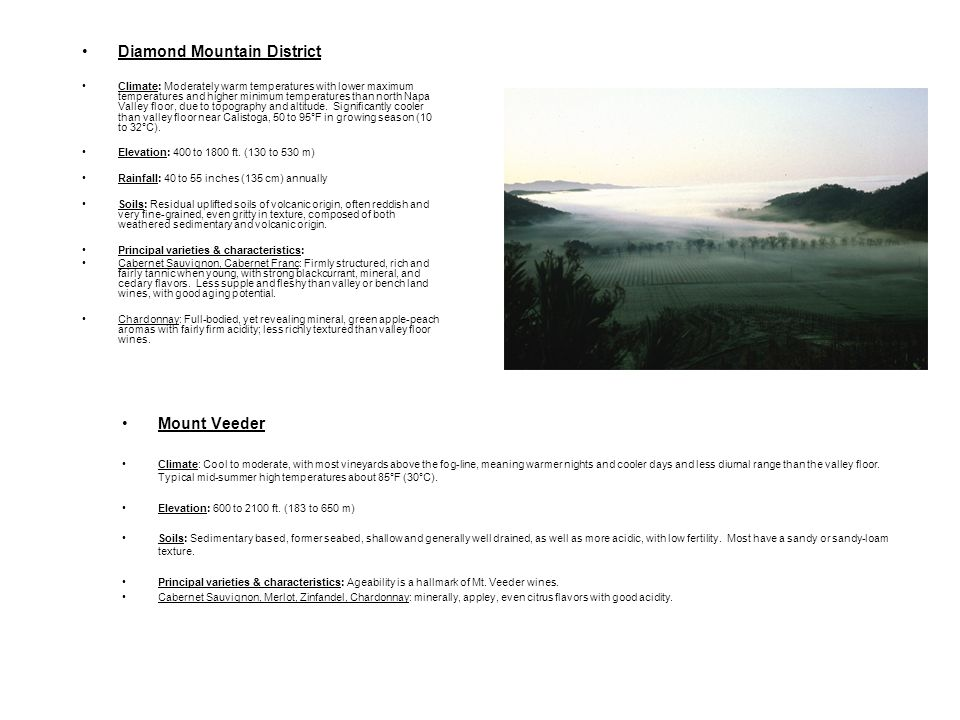 Diamond Mountain District Climate: Moderately warm temperatures with lower maximum temperatures and higher minimum temperatures than north Napa Valley