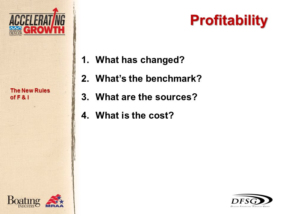 Profitability 1.What has changed. 2.Whats the benchmark.