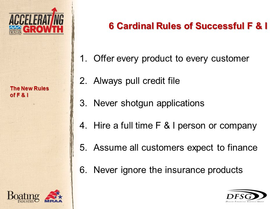 6 Cardinal Rules of Successful F & I 1.Offer every product to every customer 2.Always pull credit file 3.Never shotgun applications 4.Hire a full time