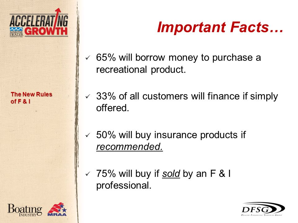 Important Facts… 65% will borrow money to purchase a recreational product.