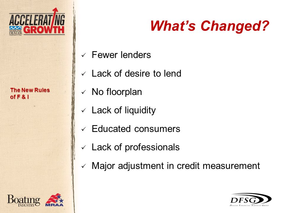 Whats Changed? Fewer lenders Lack of desire to lend No floorplan Lack of liquidity Educated consumers Lack of professionals Major adjustment in credit