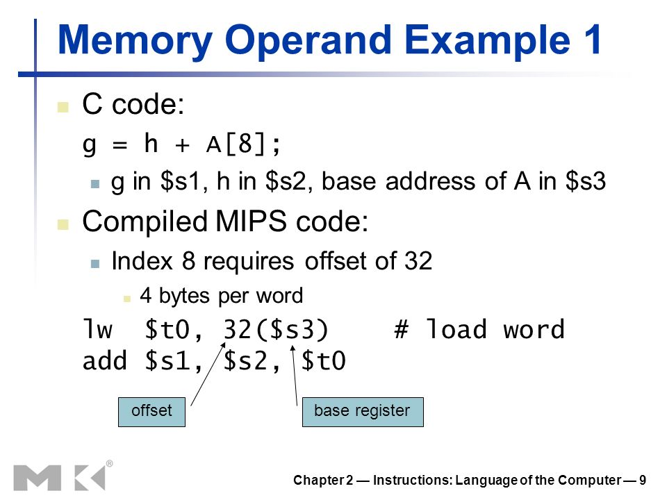 Chapter 2 Instructions: Language of the Computer 9 Memory Operand Example 1 C code: g = h + A[8]; g in $s1, h in $s2, base address of A in $s3 Compile