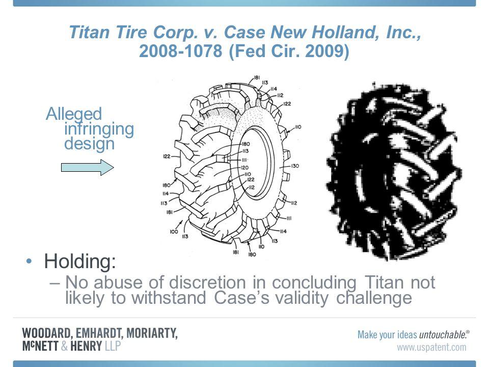Titan Tire Corp. v. Case New Holland, Inc., 2008-1078 (Fed Cir.