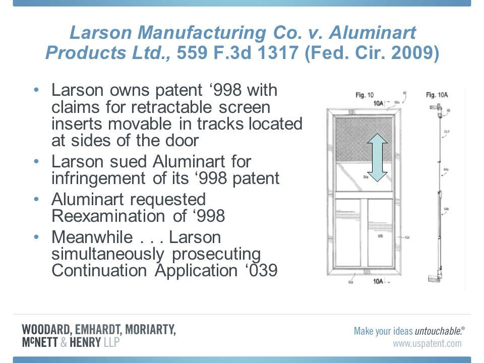 Larson Manufacturing Co. v. Aluminart Products Ltd., 559 F.3d 1317 (Fed.