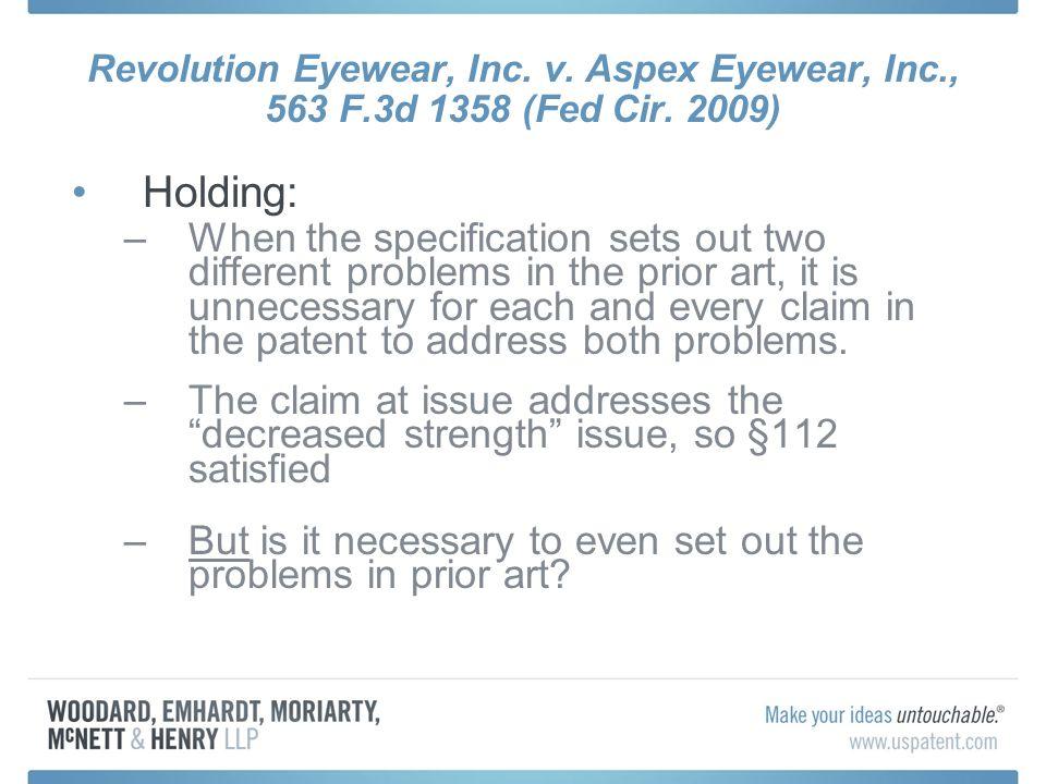 Revolution Eyewear, Inc. v. Aspex Eyewear, Inc., 563 F.3d 1358 (Fed Cir.