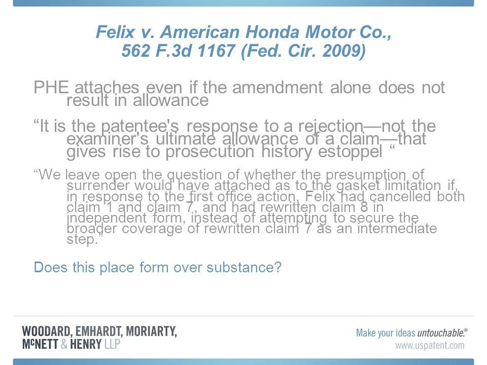 Felix v. American Honda Motor Co., 562 F.3d 1167 (Fed.