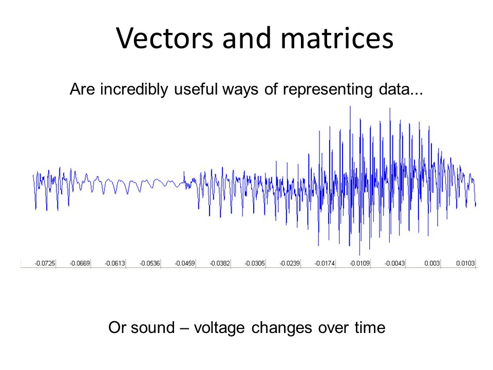 Are incredibly useful ways of representing data... Vectors and matrices Or sound – voltage changes over time