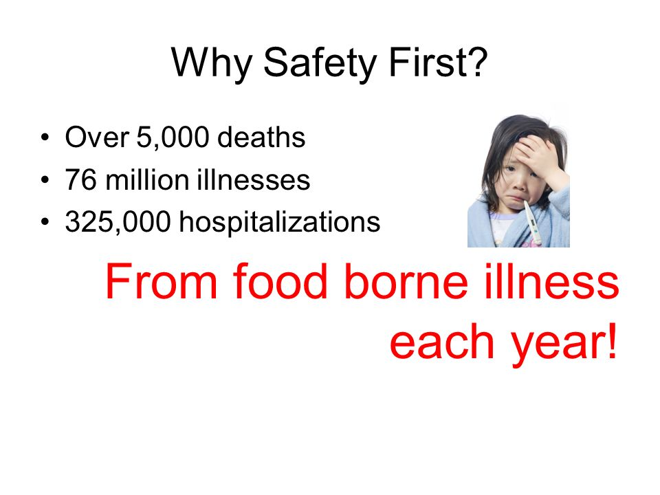 Why Safety First? Over 5,000 deaths 76 million illnesses 325,000 hospitalizations From food borne illness each year!