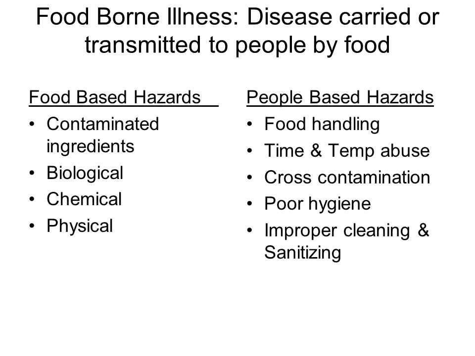 Food Borne Illness: Disease carried or transmitted to people by food Food Based Hazards Contaminated ingredients Biological Chemical Physical People B