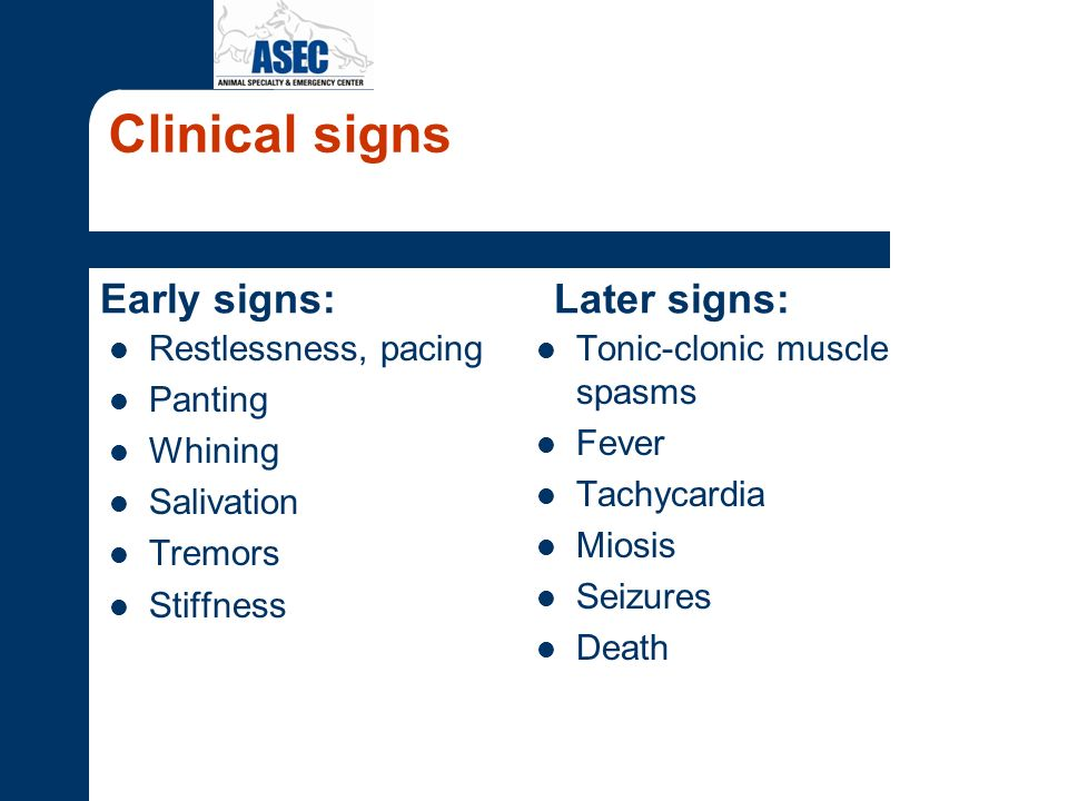 Clinical signs Early signs: Restlessness, pacing Panting Whining Salivation Tremors Stiffness Later signs: Tonic-clonic muscle spasms Fever Tachycardi