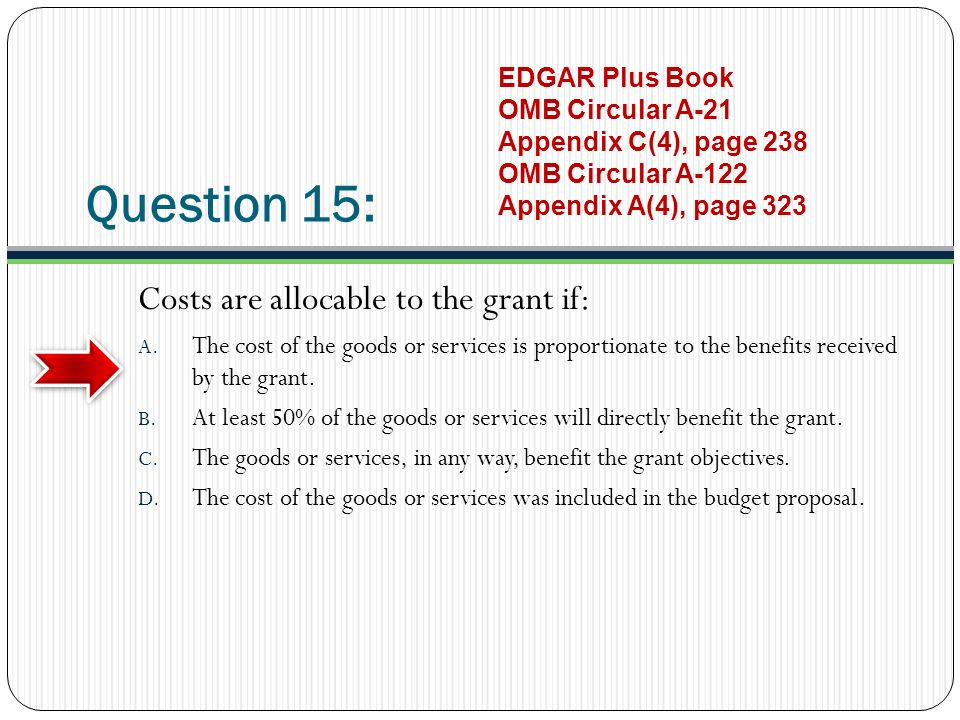 Question 15: Costs are allocable to the grant if: A.