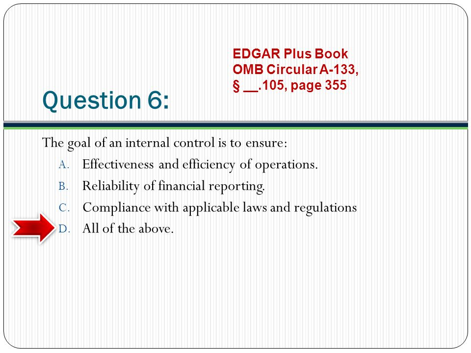 Question 6: The goal of an internal control is to ensure: A.