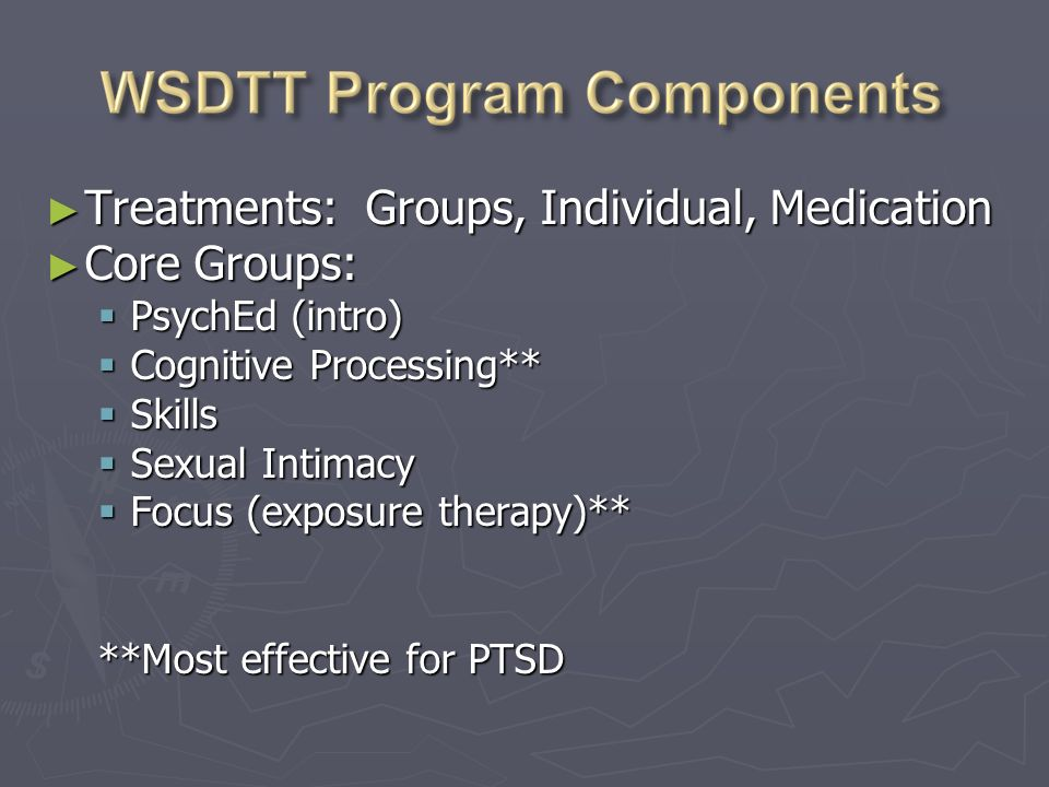 Assessment Assessment Initial Interview Initial Interview Psychological Testing (MMPI, MCMI, BDI, BUSS) Psychological Testing (MMPI, MCMI, BDI, BUSS) CAPSClinician Administered PTSD Scale CAPSClinician Administered PTSD Scale