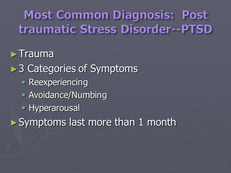 Trauma Trauma 3 Categories of Symptoms 3 Categories of Symptoms Reexperiencing Reexperiencing Avoidance/Numbing Avoidance/Numbing Hyperarousal Hyperarousal Symptoms last more than 1 month Symptoms last more than 1 month