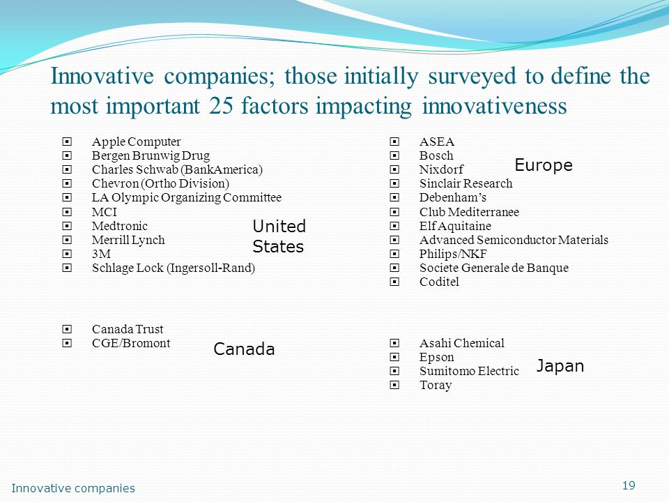 Innovative companies; those initially surveyed to define the most important 25 factors impacting innovativeness Apple Computer Bergen Brunwig Drug Cha