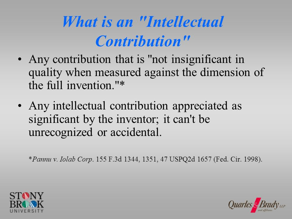 What is an Intellectual Contribution Any contribution that is not insignificant in quality when measured against the dimension of the full invention. * Any intellectual contribution appreciated as significant by the inventor; it can t be unrecognized or accidental.