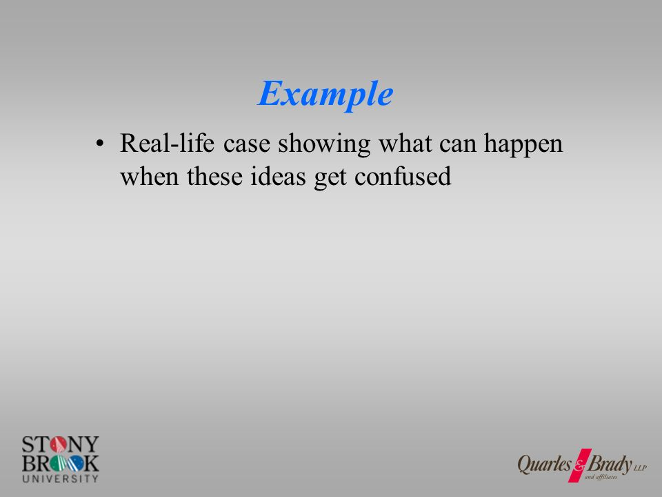 Example Real-life case showing what can happen when these ideas get confused