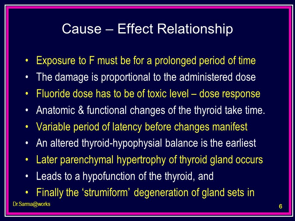 6 Dr.Sarma@works Cause – Effect Relationship Exposure to F must be for a prolonged period of time The damage is proportional to the administered dose