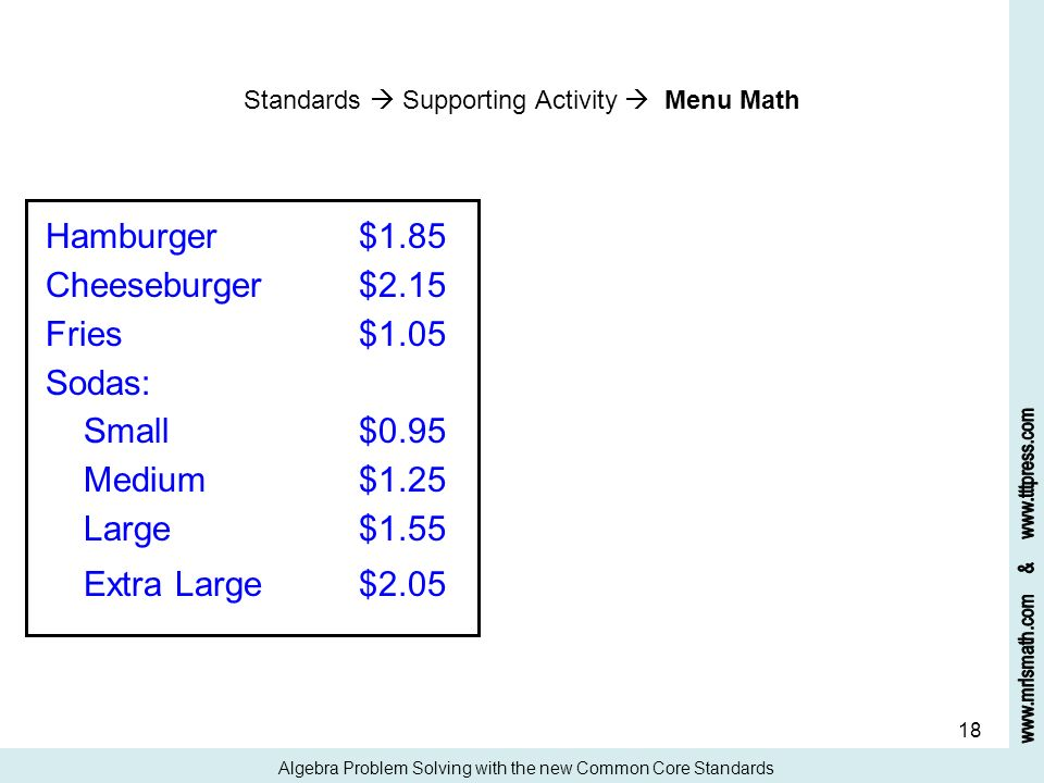 18 Standards Supporting Activity Menu Math Algebra Problem Solving with the new Common Core Standards Hamburger$1.85 Cheeseburger$2.15 Fries$1.05 Soda