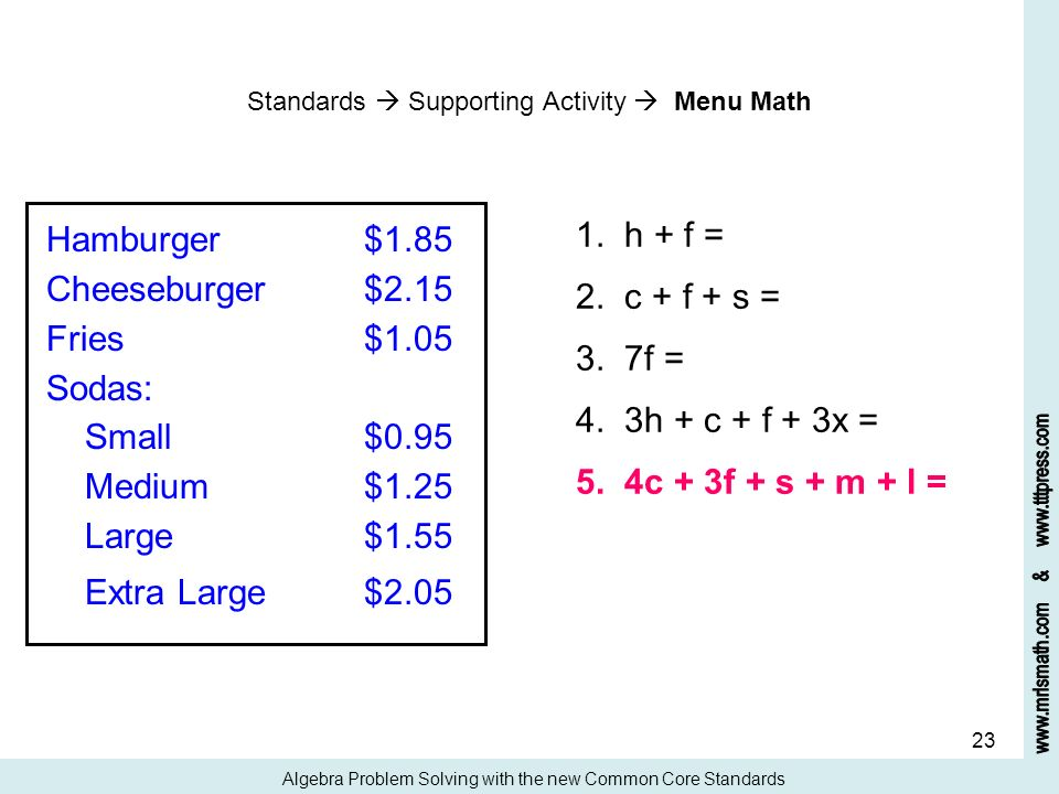 23 Standards Supporting Activity Menu Math Algebra Problem Solving with the new Common Core Standards Hamburger$1.85 Cheeseburger$2.15 Fries$1.05 Soda