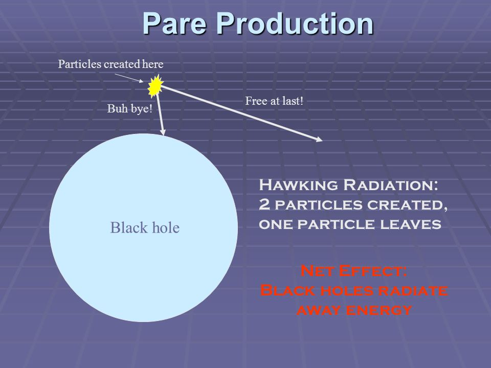 Size Does Matter Hawking radiation depends on size/mass of the black hole: smaller holes radiate faster.