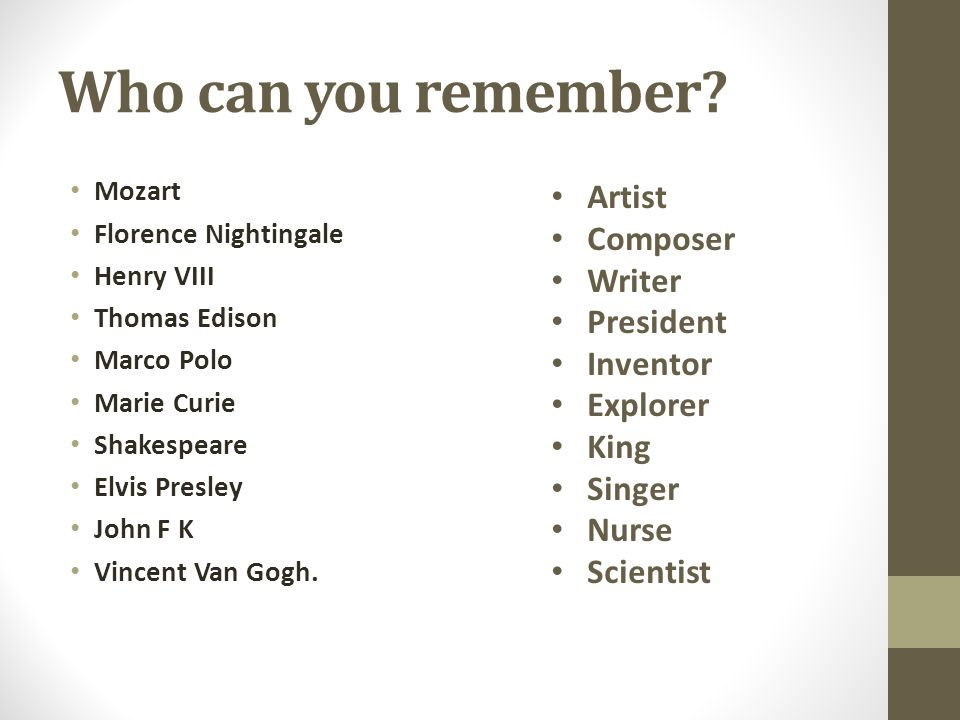 Who can you remember? Mozart Florence Nightingale Henry VIII Thomas Edison Marco Polo Marie Curie Shakespeare Elvis Presley John F K Vincent Van Gogh.