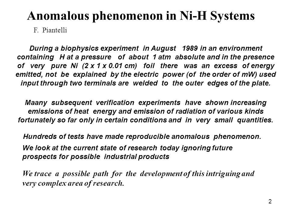 2 Anomalous phenomenon in Ni-H Systems F.