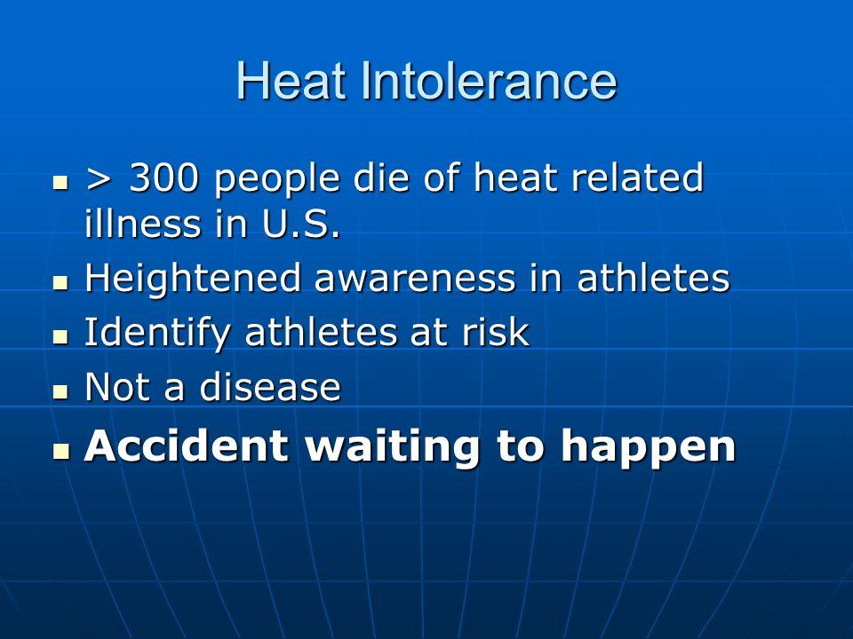Heat Intolerance Heat Stroke can occur in best athletes Heat Stroke can occur in best athletes Korey Stringer, Vikings, professional Korey Stringer, Vikings, professional Estrate Autin, Florida, college Estrate Autin, Florida, college