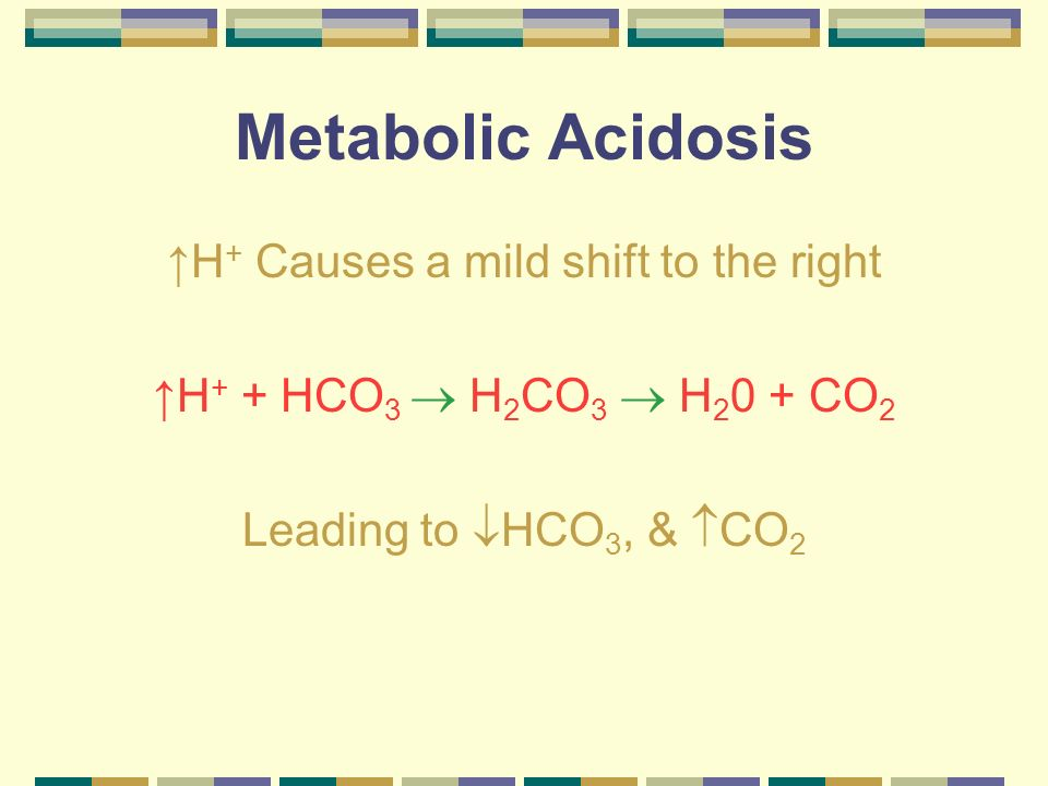 Metabolic Acidosis H + Causes a mild shift to the right H + + HCO 3 H 2 CO 3 H 2 0 + CO 2 Leading to HCO 3, & CO 2