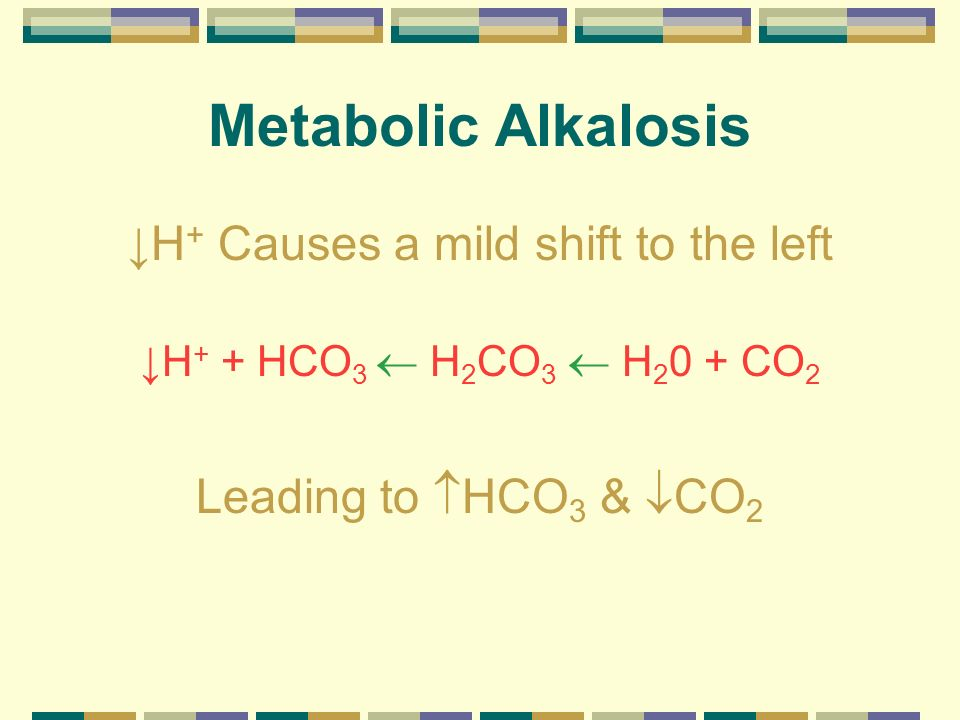 Metabolic Alkalosis H + Causes a mild shift to the left H + + HCO 3 H 2 CO 3 H 2 0 + CO 2 Leading to HCO 3 & CO 2