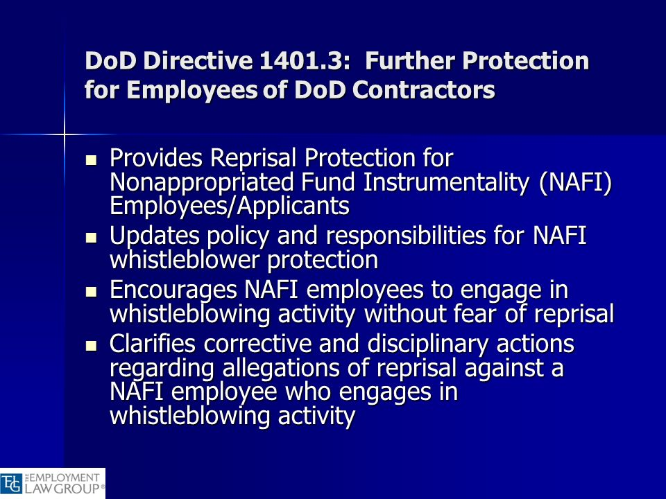 DoD Directive 1401.3: Further Protection for Employees of DoD Contractors Provides Reprisal Protection for Nonappropriated Fund Instrumentality (NAFI)