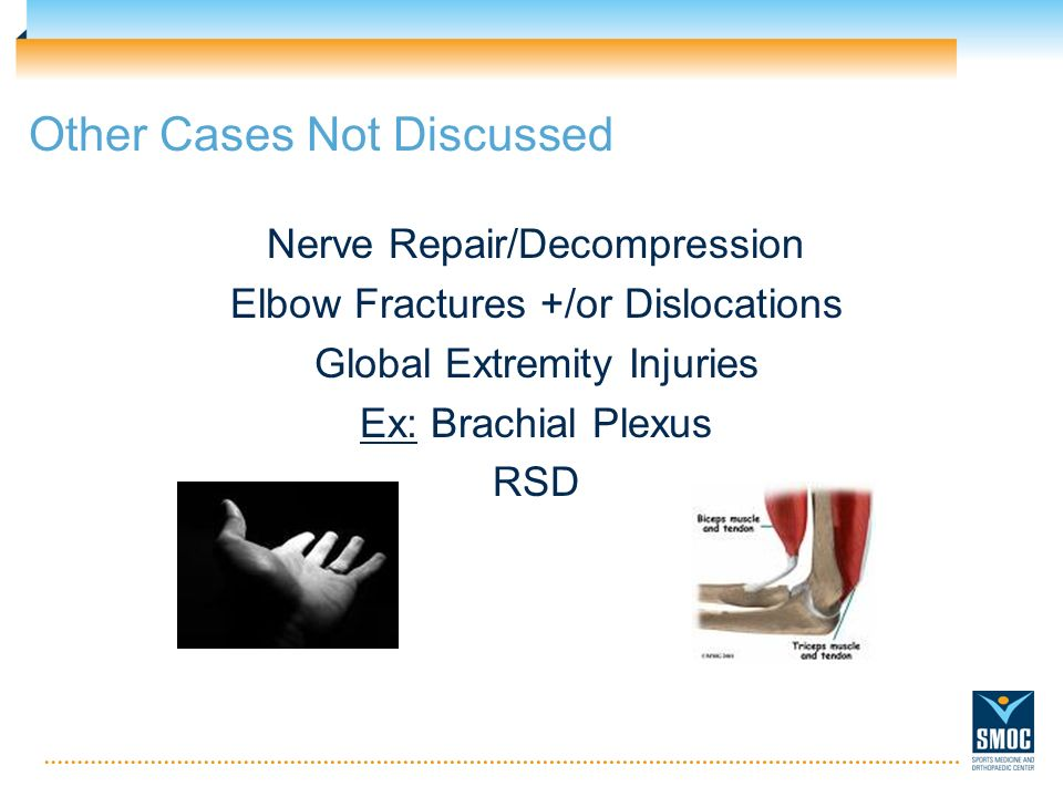 Other Cases Not Discussed Nerve Repair/Decompression Elbow Fractures +/or Dislocations Global Extremity Injuries Ex: Brachial Plexus RSD