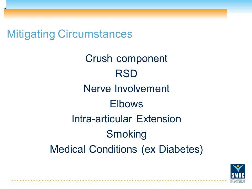 Mitigating Circumstances Crush component RSD Nerve Involvement Elbows Intra-articular Extension Smoking Medical Conditions (ex Diabetes)
