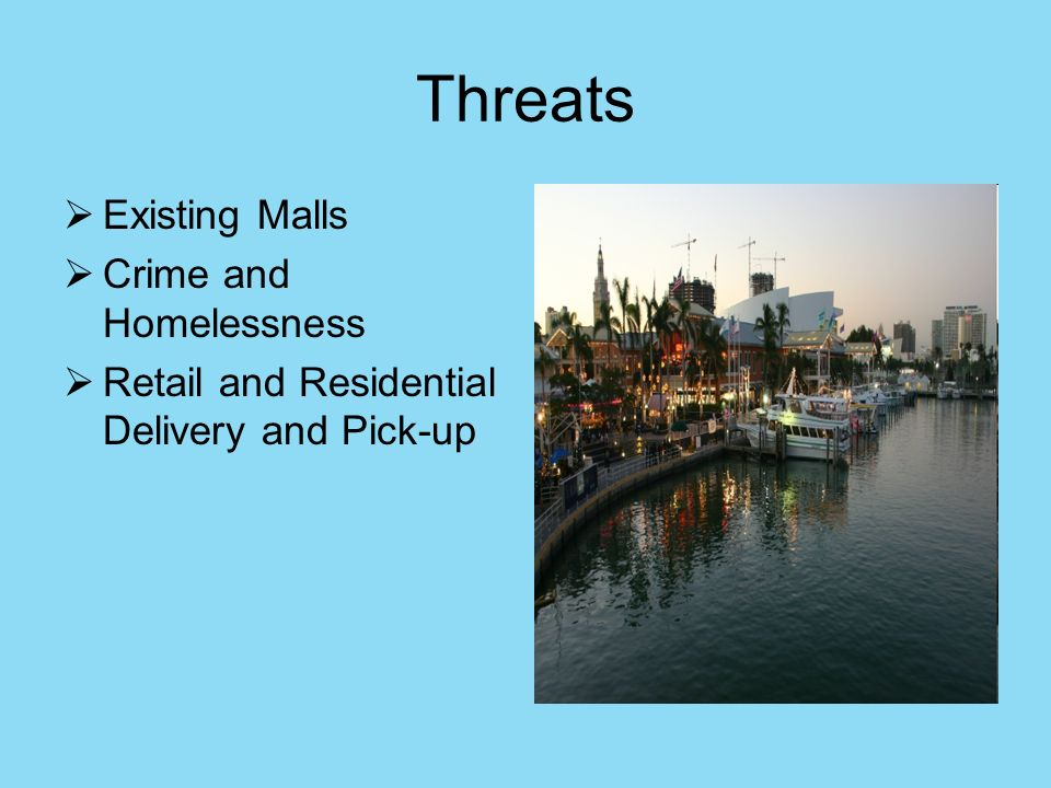 Threats Existing Malls Crime and Homelessness Retail and Residential Delivery and Pick-up