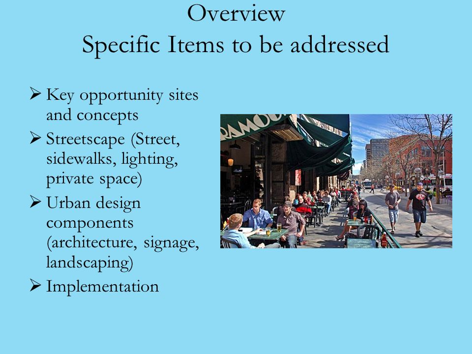 Overview Specific Items to be addressed Key opportunity sites and concepts Streetscape (Street, sidewalks, lighting, private space) Urban design components (architecture, signage, landscaping) Implementation