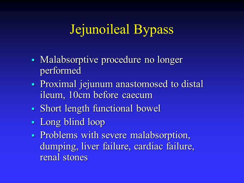 Jejunoileal Bypass Malabsorptive procedure no longer performed Malabsorptive procedure no longer performed Proximal jejunum anastomosed to distal ileu