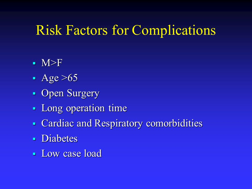 Risk Factors for Complications M>F M>F Age >65 Age >65 Open Surgery Open Surgery Long operation time Long operation time Cardiac and Respiratory comor