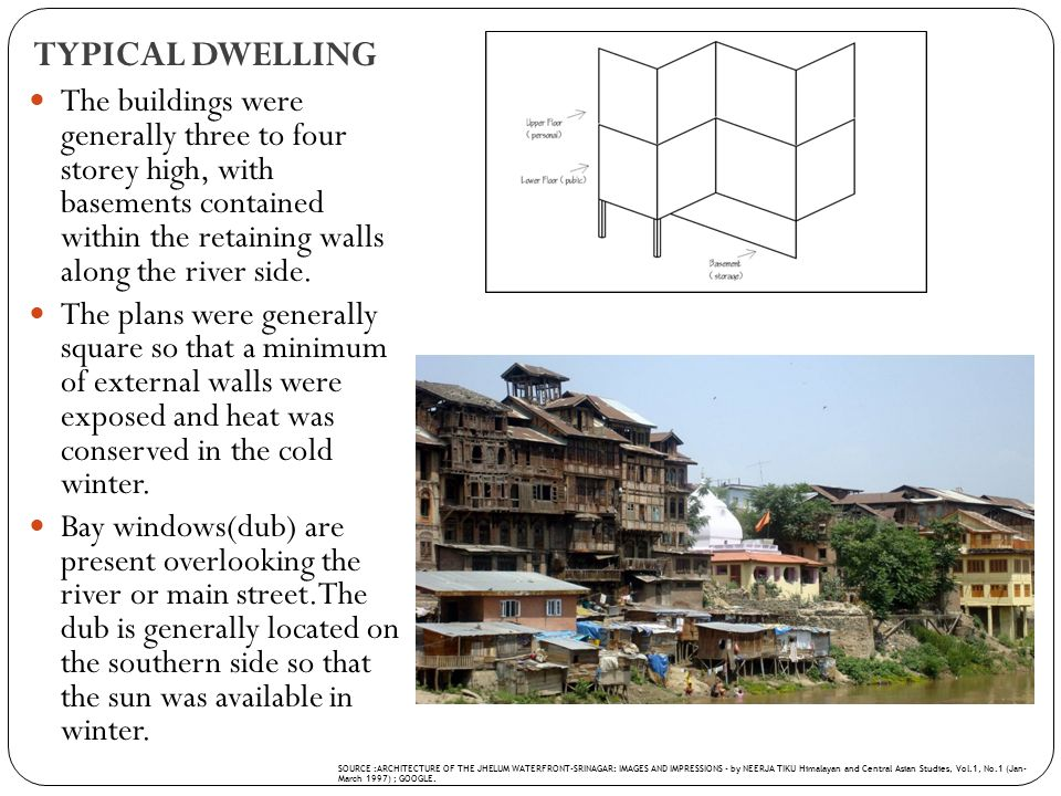 TYPICAL DWELLING The buildings were generally three to four storey high, with basements contained within the retaining walls along the river side. The