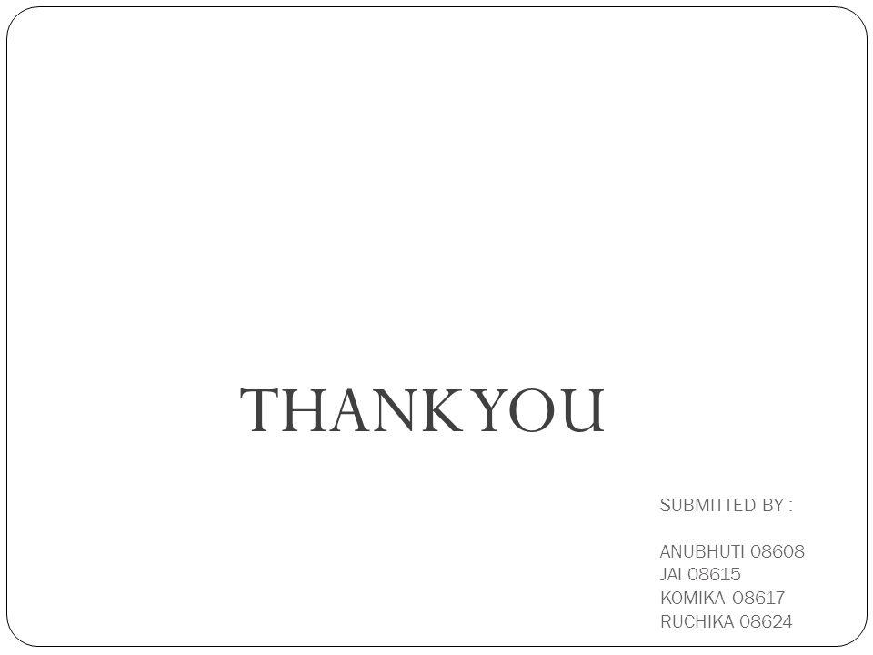 SUBMITTED BY : ANUBHUTI 08608 JAI 08615 KOMIKA O8617 RUCHIKA 08624 THANK YOU